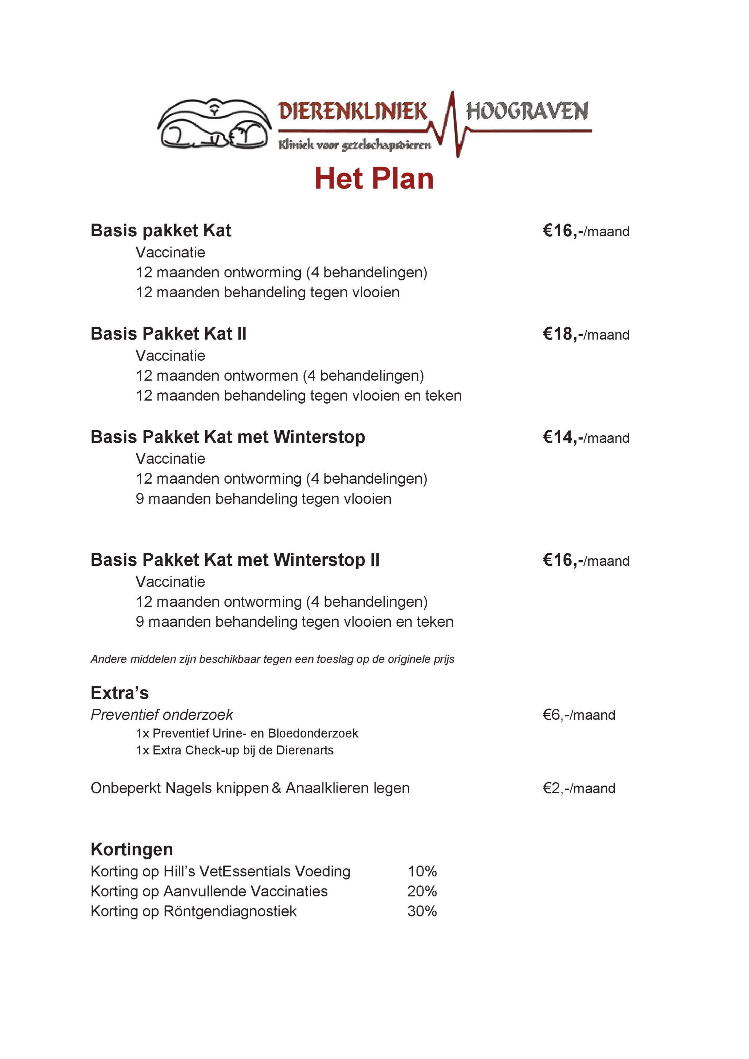 Prijslijst Het Plan Kat